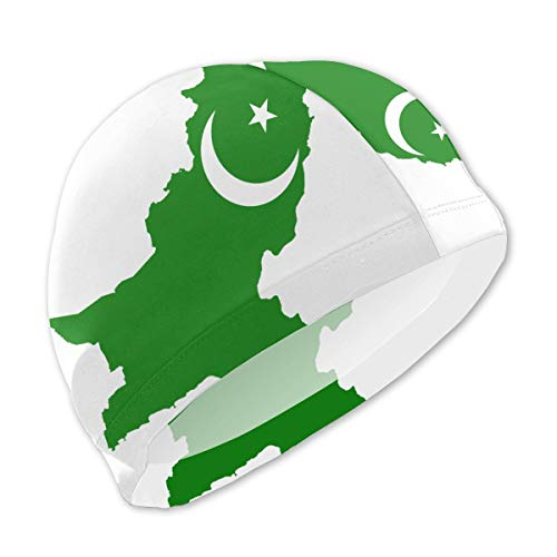 Onlyouder Pakistan Flag Map Swim Caps for Kids Boys and Girls Baby Bathing Caps for Long and Short Hair (Best Hair Oil For Mens In Pakistan)