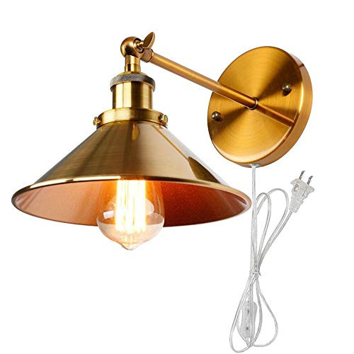 Kiven 1-Light Plug-in Wall Sconce,Fan-Shaped Copper Plating, 6 Foot Clear Cord, BD0272 ()