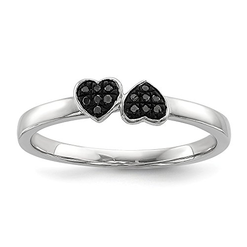 Sterling Silver Black Diamond Stackable Ring Size 7 by Jewels By Lux