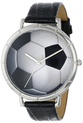 Whimsical Watches Women's T0840007 Soccer Lover Black Leather And Silvertone Photo Watch