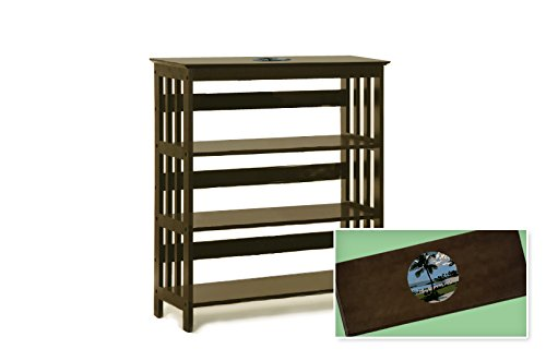 New Cappuccino / Espresso Finish Book Shelf Sofa Table featuring Hawaii Logo Theme by The Furniture Cove