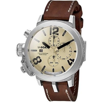 U Boat Beige Dial Brown Leather Mens Watch 7452