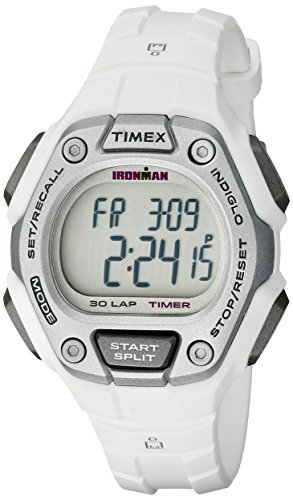 Timex Women's Ironman 30-Lap Digital Quartz Mid-Size Watch, White/Silver-Tone - TW5K89400