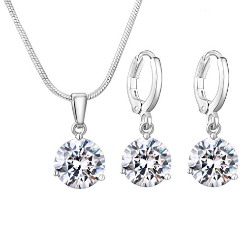 CARSINEL Classical Cubic Zirconia Necklace & Earrings Jewelry Set for Brides Bridesmaid Wedding Party Prom(White-4PCS) by CARSINEL