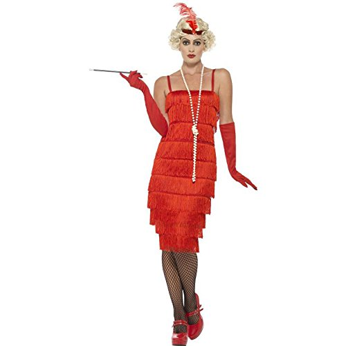 Flapper Dress Costume Uk (Smiffy's Women's Flapper Costume, Long Dress, Headband and Gloves, 20's Razzle Dazzle, Serious Fun, Size 10-12, 45501)