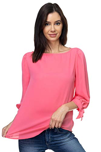 VIA Jay Women's Basic Casual Relaxed Loose 3/4 Sleeve Blouse Top (Salmon Rose, Large)