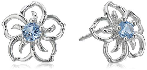 Sterling Silver Created Aquamarine Flower Stud Earrings