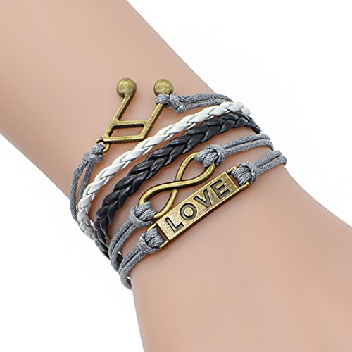Time Pawnshop Bronze Musical Note Love Lucky 8 Multilayer Adjustable Fashion Braided Bracelet - Pump Rod Faucet
