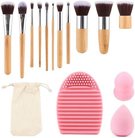 11pcs Make Up Brushes Professional Make Up Brush Set with 2 Make Up Eggs and 1 Make Up Brush Cleaning Mat