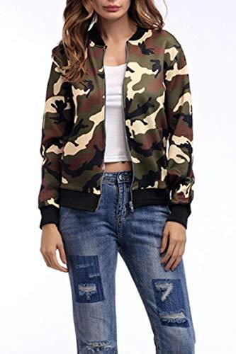 Bomber Chaqueta Fashion BoBoLily Chaquetas Grüne Anchas Cortos Outwear Military Camuflaje Elegantes Primavera Mujer Largo Especial Manga Otoño Estilo Informales Chaquetas zTwZqzR