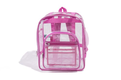 "UPC 898882002843, Industrial Grade Freeze Proof Large Clear Backpack for Women Pink - 15.75"" x 14"" x 9"""