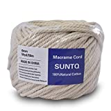 (6mm x 50m(About 55 yd)) Handmade Decorations Natural Cotton Bohemia Macrame DIY Wall Hanging Plant Hanger Craft Making Knitting Cord Rope Natural Color Beige Macramé Cord