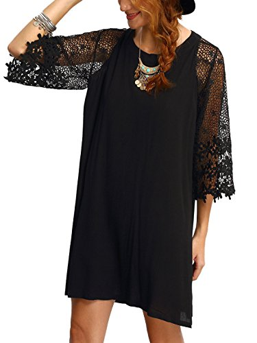 tunic sleeve summer dress black crewneck makemechic chiffon half