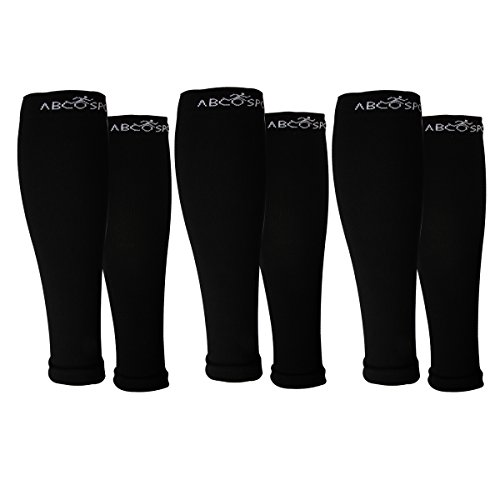 Abco Tech (3 Pack) Calf Compression Sleeve For Shin Splints Graduated Leg Sleeve For Basketball Running by Abco Sport