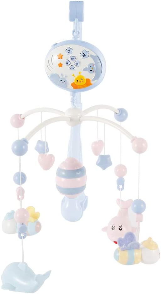Dandelionsky Baby Musical Cot Mobile Blue Electric Rotating Music Crib Mobile with Little Bee Small Dolphin Adjustable Volume Music Player /& Light for Girl /& Boy