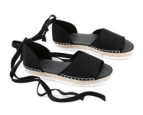 Wrap Lace Up Lace (FISACE Womens Summer Espadrille Ankle Strap Flat Sandals Peep Toe Flip-Flop Shoes Black, 7 M US)