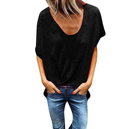 Tantisy ♣↭♣ Woman Pure Color Top V-Neck Short Sleeves T-Shirt Lady Plus Size Tunics Shirt Blouses Tops/S-5XL Black