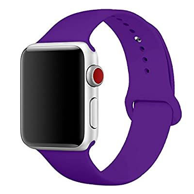 SIRUIBO Band for Apple Watch 38mm, Soft Silicone Sport Strap Replacement Bracelet Wristband for Apple Watch Series 3, Series 2, Series 1, Edition, Purple S/M Size