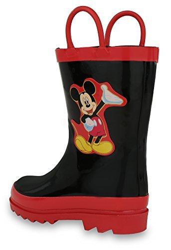 Disney Kids Boys Mickey Mouse Character Printed Waterproof Easy-On Rubber Rain Boots (Toddler/Little Kids)