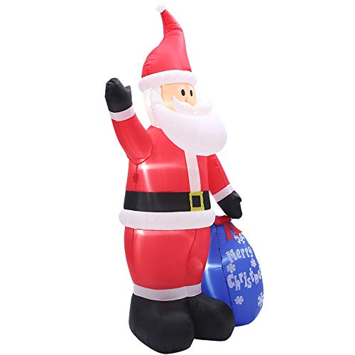 SUPERJARE 8 FT Christmas Inflatable Santa Claus with Gift Sack, Airblown Christmas Decoration with LED Light, Animated for Yard Party Lawn, Indoor & Outdoor