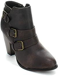 Forever Women's Buckle Strap Block Heel Ankle Booties, Brown 8