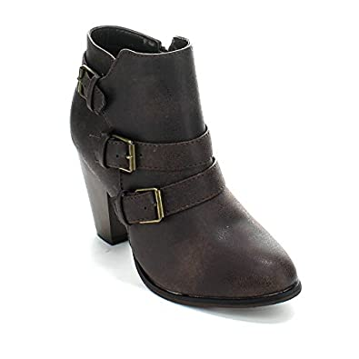 Amazon.com | Forever Women's Buckle Strap Block Heel Ankle Booties ...
