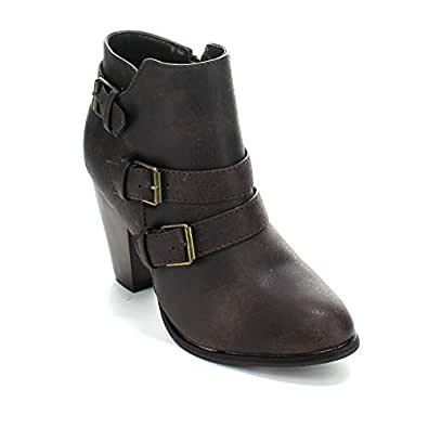 Forever Women's Buckle Strap Block Heel Ankle Booties, Brown 5