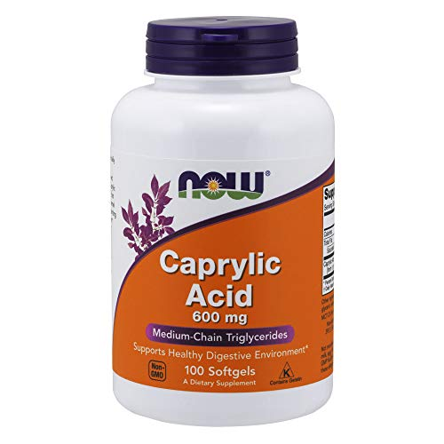 - NOW Supplements, Caprylic Acid 600 mg, Medium-Chain Triglycerides, 100 Softgels