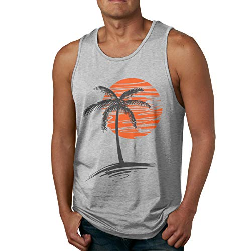 Waldeal Mens Palm Tree Sunset Sleeveless Tank Tops Cool Fitness Shirt Size L Gray
