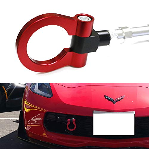 iJDMTOY Red Track Racing Style Front Bumper Tow Hook Ring for 2014-2019 Chevrolet Corvette Z06 ZR1 Z51, Made of Light Weight CNC Aluminum