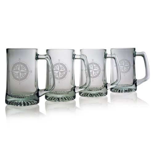Cheap Susquehanna Glass Nautical Compass Rose Sand Etched Beer Mug, Set of 4, 15 ounces
