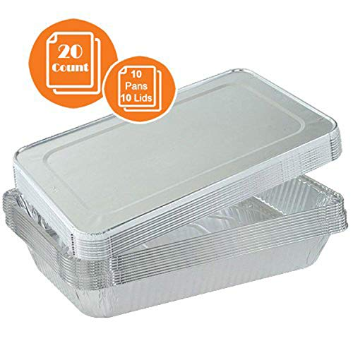 Tiger Chef Full Size 21 x 13 inches Durable Aluminum Foil Steam Table Pans with Lids, Disposable, Includes 10 Pans and 10 Lids. 20-Piece