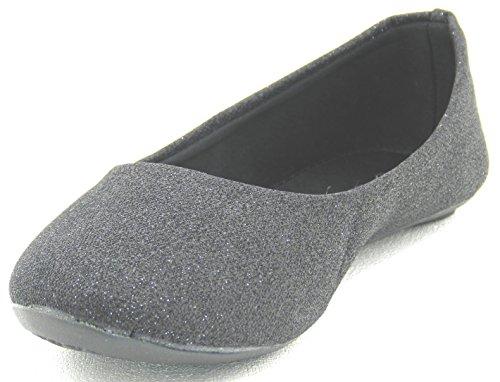 DEV Women Multi Color Flat Ballet Ballerina Glitter Shoes Black O6KTdlP6