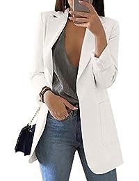 HeLov Women's Long Sleeve Solid Color Turn-Down Collar Coat Ladies Business Suit Cardigan Jacket Suit Blazer Tops