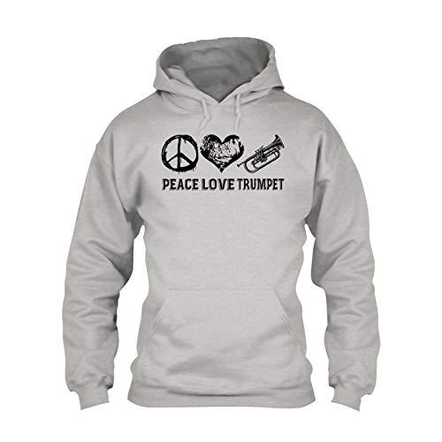 Peace Love Trumpet Hooded Sweatshirt, Outerwear T Shirt -