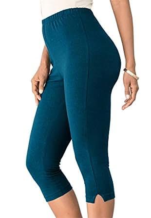 Roamans Women's Plus Size Stretch Knit Petite Capri Legging Exotic Peacock,1X