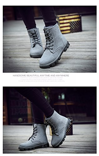 Manyis Womens Nieuwe Winter Lace-up Combat Booties Sneeuw Warme Laarzen Grijs