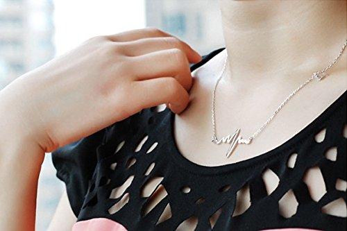 Podaja Women's Forever Love Heartbeat Design Short Paragraph Necklace (White)