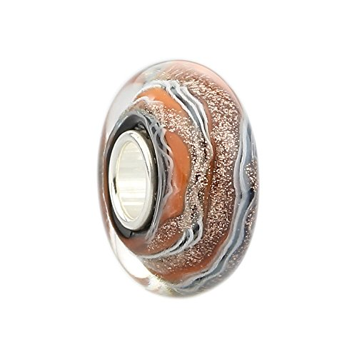 Orange Green Striped Core Charm 925 Sterling Silver Spacer Beads Lampwork Murano Glass Beads for European Charm Bracelet (A)