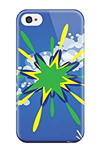 YY-ONE Tpu James D Bradley Artistic Freevector Green Star Design YY-ONE For Iphone 4/4s