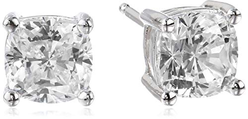 Platinum Plated Sterling Silver Cushion Cut Cubic Zirconia Stud Earrings (6mm) ()