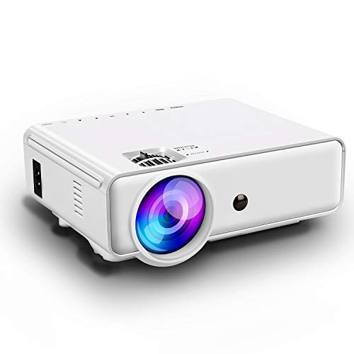 Projector,PoFun (2019 Upgrade) +50% Lumens Mini Portable Projector,LED Full HD Office Projector with 150''Display for Fire TV Stick,HDMI,VGA,AV,SD