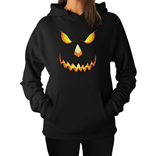 Halloween Pumpkin Scary Jack O Lantern Novelty Pullover Hoodie Sweatshirt Women Large