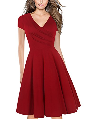 (Naive Shine Women's Cap Sleeve V-Neck Swing Summer Casual Dress Red Size XL)