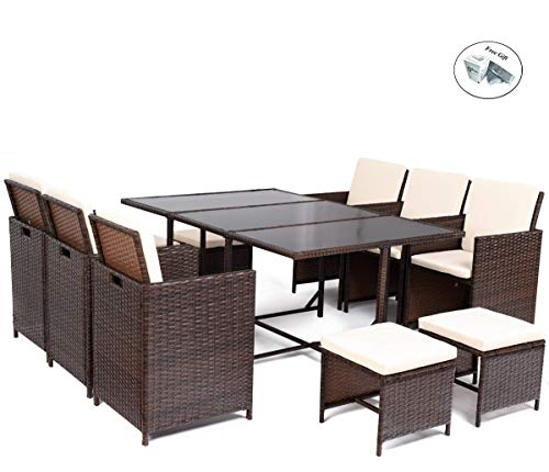 COSTWAY 11 PCS Patio Furniture Dining Set Garden Outdoor Patio Furniture Sets Wicker Outdoor Patio Cube Sets and Cushions Only by ()