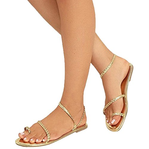 Women Gold Sandals Strappy Summer Women Shoes Beach Office Flat Sandals Low Amiley Heel Flops Gladiator Flip Casual fBqwaq