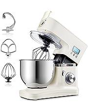 Hauswirt Stand Mixer, Voedselmixer, 1000W - 8 Speed - 5L RVS Mengkom, Keuken Elektrische Mixer Met Deeghaak, Draad Zweep & Beater - LCD Display, Planetair Mixing System (Cream)..