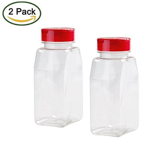 (2 Pack - 16 OZ Clear Plastic Spice Bottles Jars Containers - Flap Cap, Pour and Sifter Shaker, Refillable. Perfect For Storing and Dispensing Herbs and Spices - BPA Free)