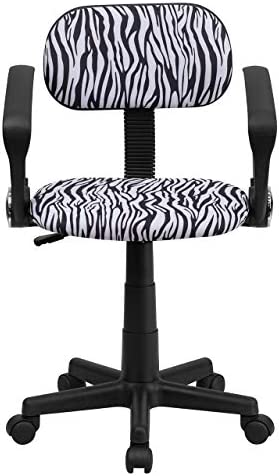 Flash Furniture Black and White Zebra Print Swivel Task Office Chair with Arms