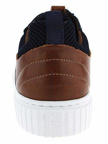 Coxx Zapatillas de Piel Para Hombre Azul Navy/Camel